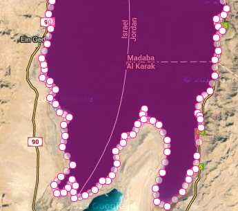 dead sea marked for area measurement in square kilometer bottom part of dead sea