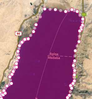 dead sea marked for area measurement in square kilometer top part of dead sea