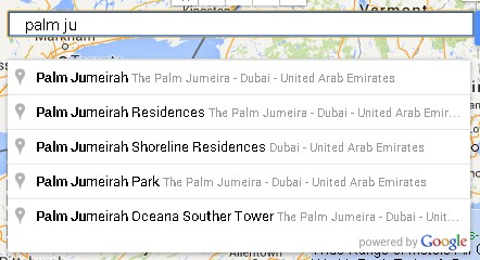 geographical area finder searchbox searching palm jumeira