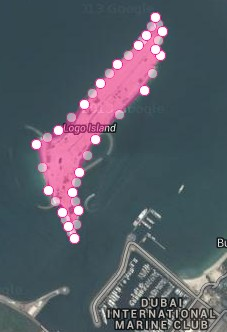 palm jumeira logo island left marked for measuring area