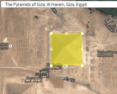 pyramid of khufu Egypt marked for measurement milloz area calculator tool
