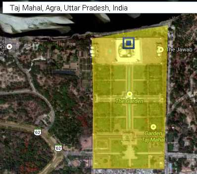 taj mahal marked for area measurement