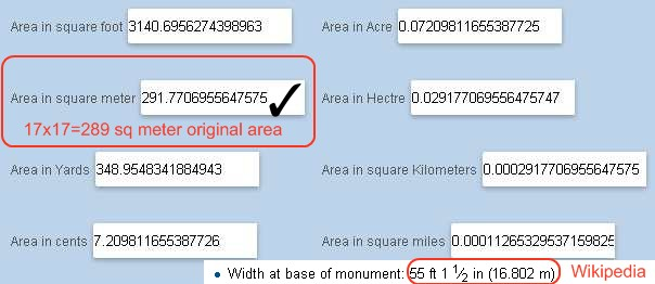 washington monument structure measure base area 291 sq meter